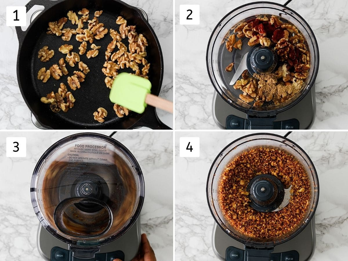 Collage of 4 steps showing roasting walnuts, adding ingredients into food processor and pulsing.