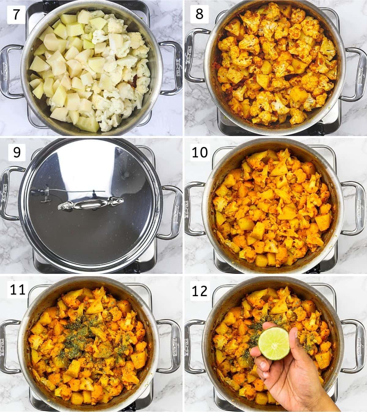 Collage of 6 steps showing adding, mixing potatoes, cauliflower, cook covered, adding kasoori methi, lime juice.