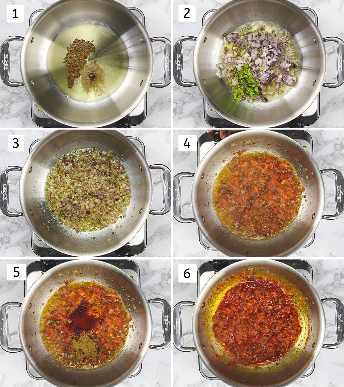 Collage of 6 steps showing cooking onion tomato masala with spices.