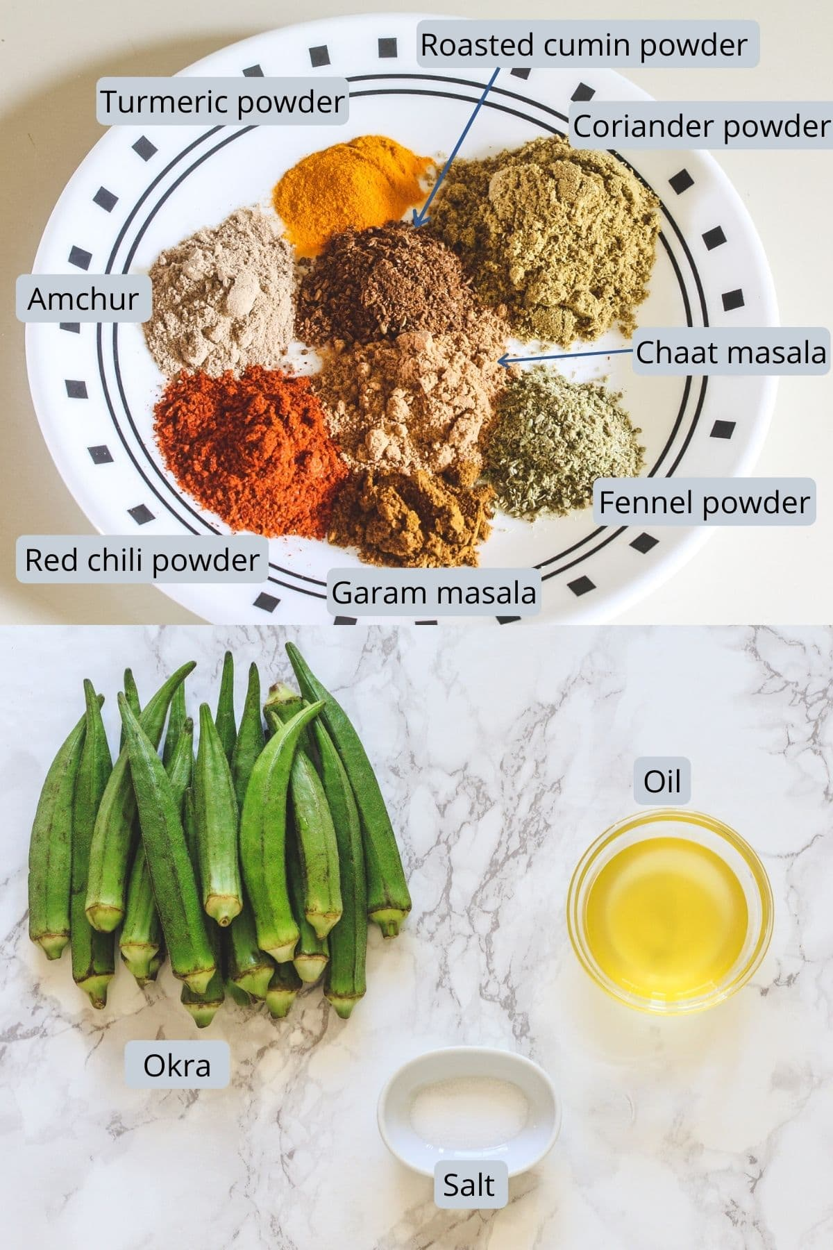 Ingredients used in bhindi masala where spices in a plate and rest on marble surface.