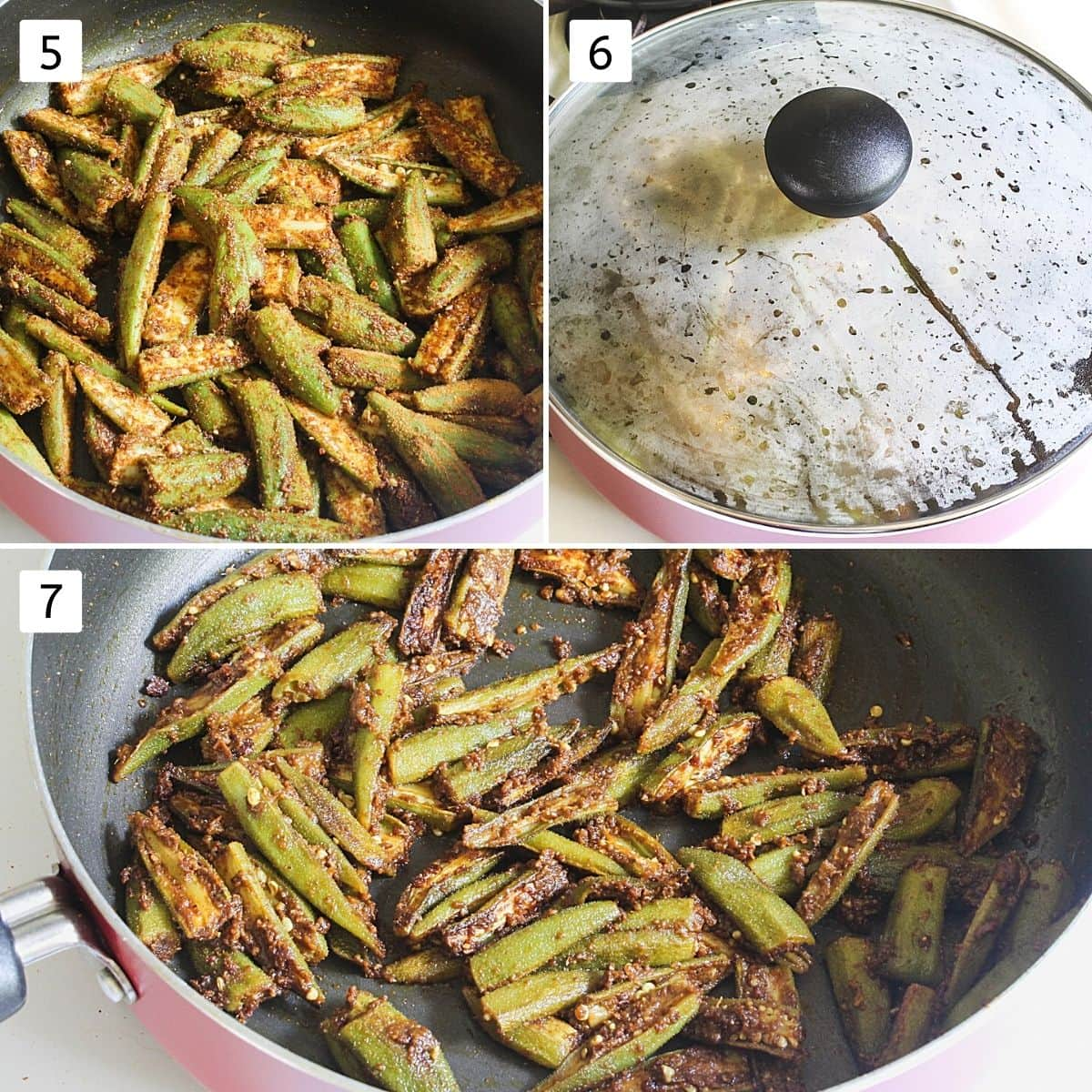 Collage of 3 steps showing adding okra to oil, covered with lid and cooked bhindi masala sabzi.
