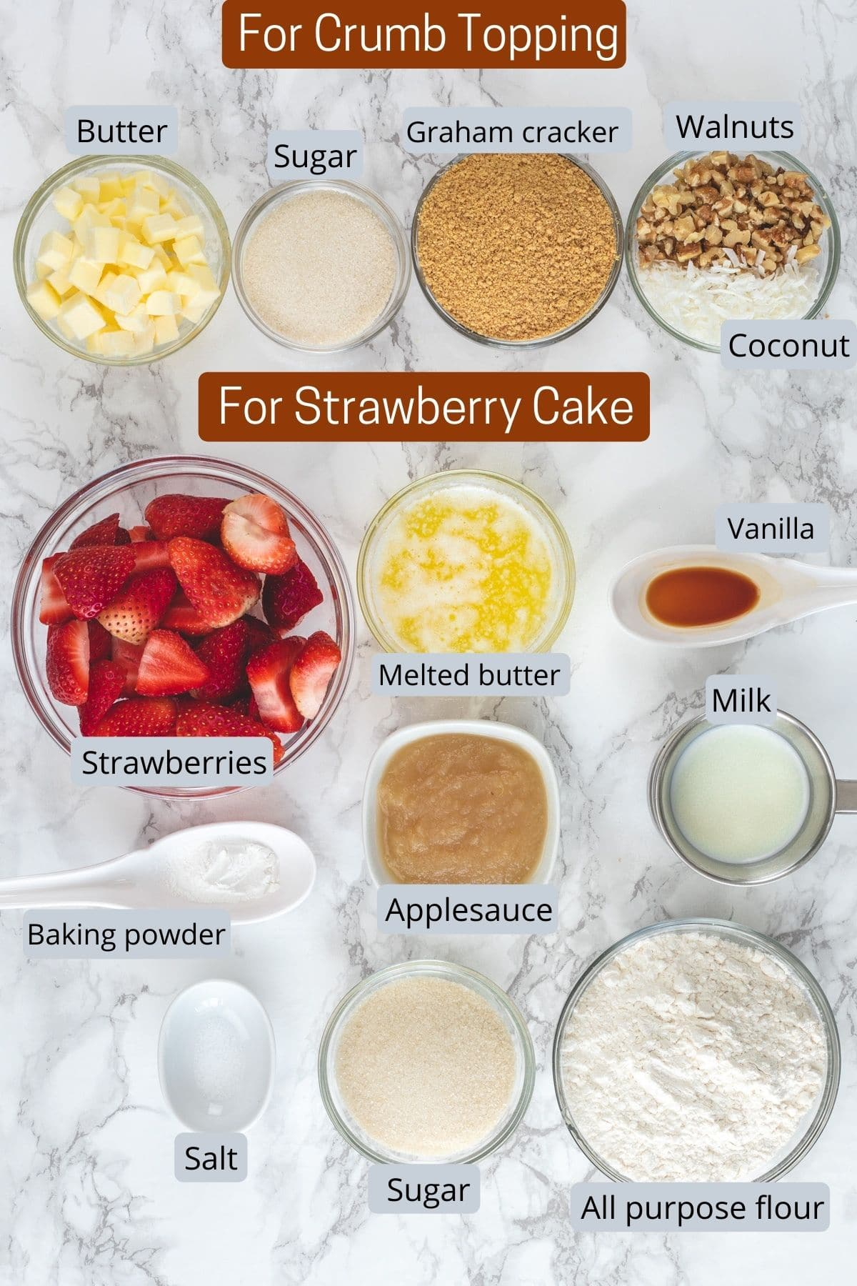 Ingredients used for making eggless strawberry cake in individual bowls.