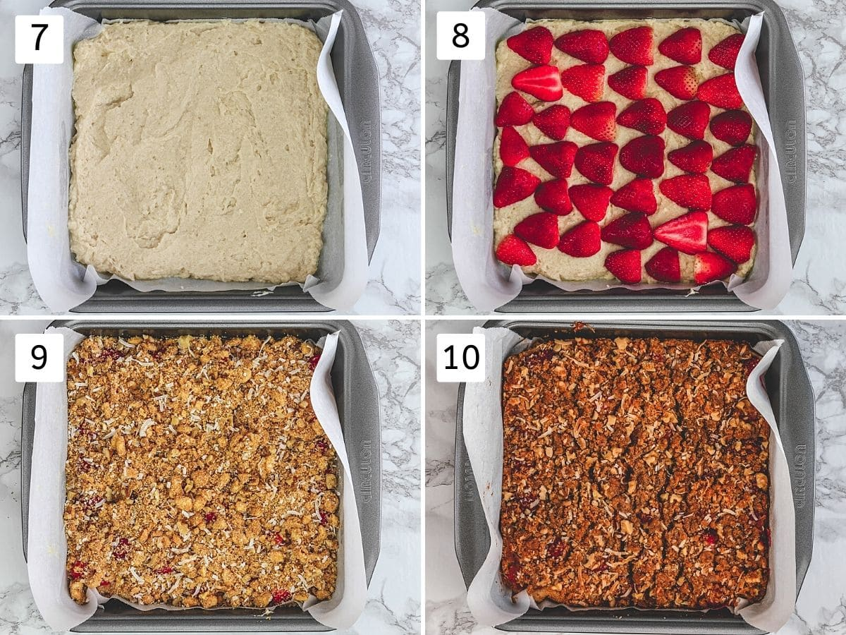 Collage of 4 steps showing spreading cake batter, placing strawberries, sprinkling topping and baked cake.