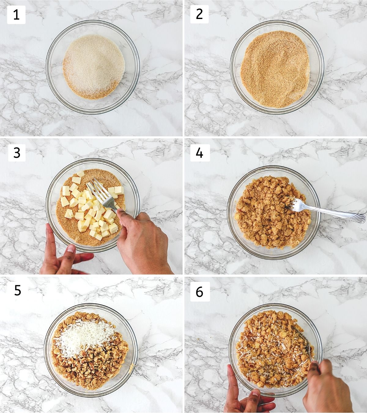 Collage of 6 steps showing making crumb topping.