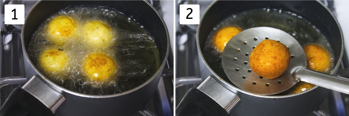 Collage of 2 steps showing kofta into hot oil and ready fried kofta in slotted spoon.
