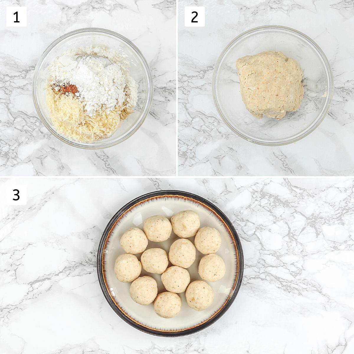 Collage of 3 steps showing making kofta mixture and shaped kofta balls.