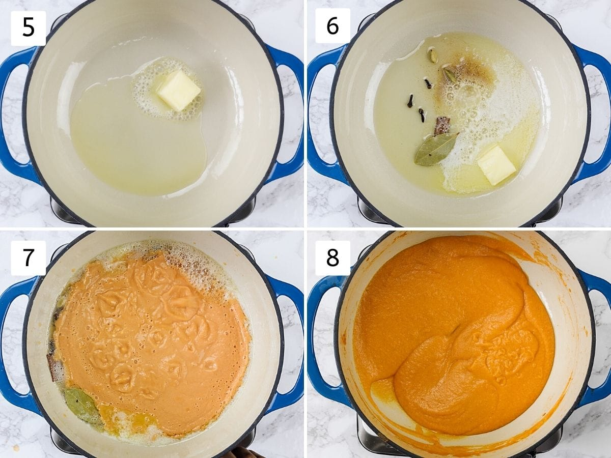 Collage of 4 steps showing tempering whole spices in butter and cooking gravy.