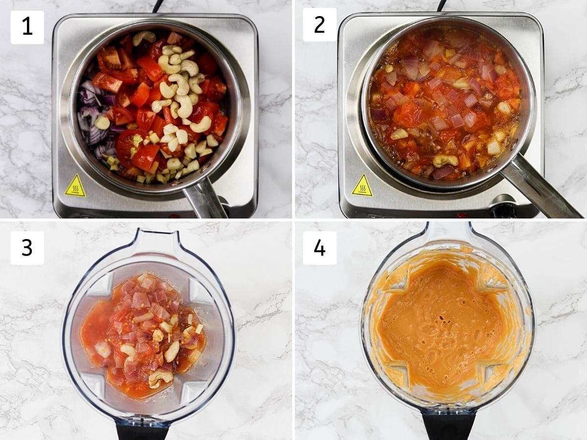 Collage of 4 steps showing boiling onion tomato and grinding into the blender to make malai kofta curry.