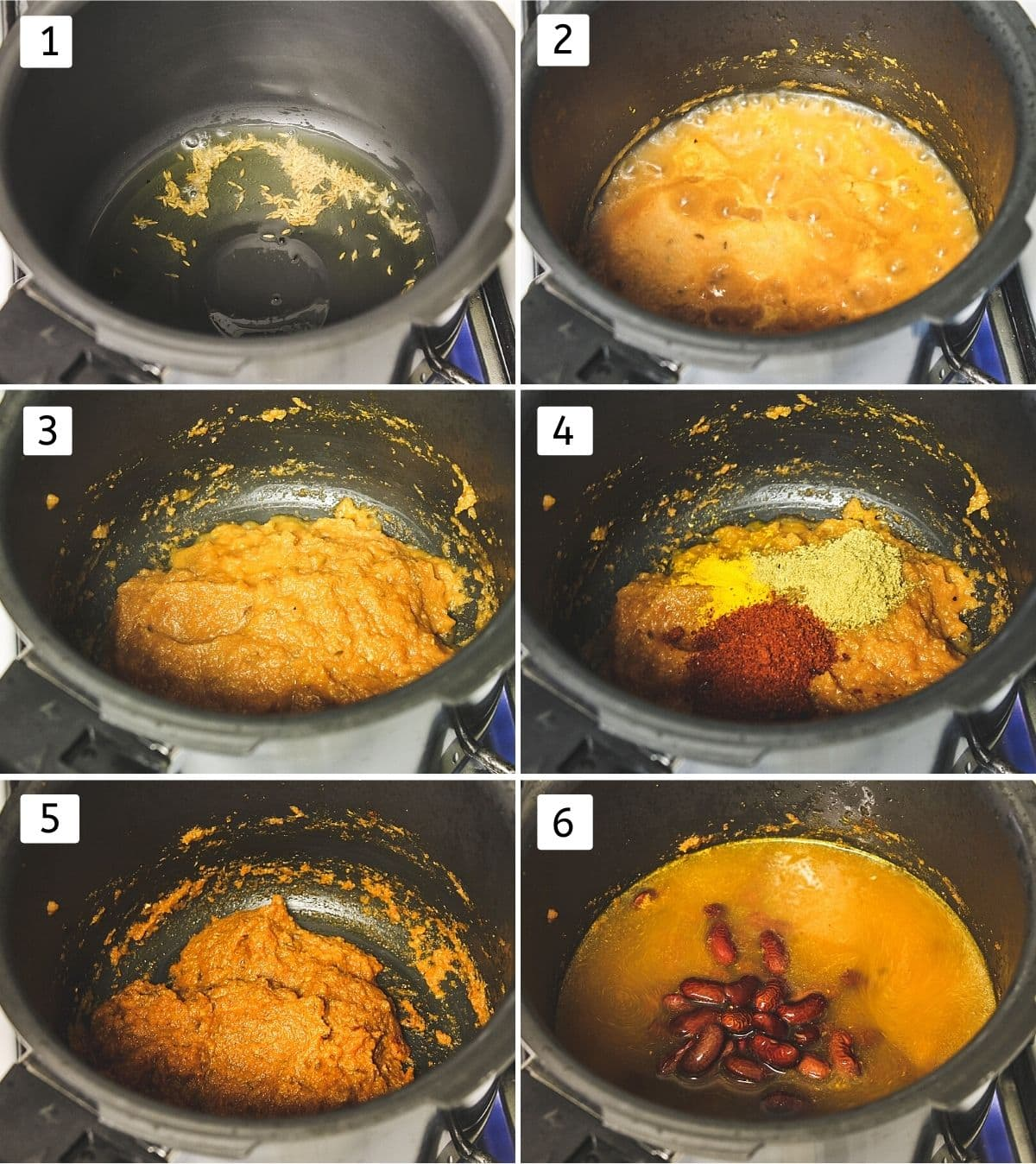 Collage of 6 steps showing making rajma curry in pressure cooker.
