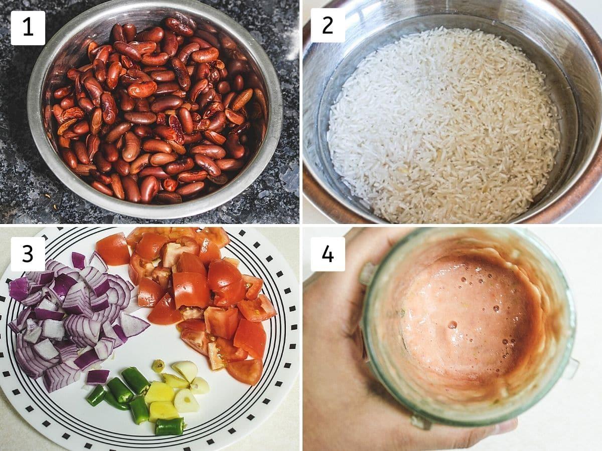 Collage of 4 steps showing soaked rajma, soaking rice, chopped veggies and onion tomato puree..