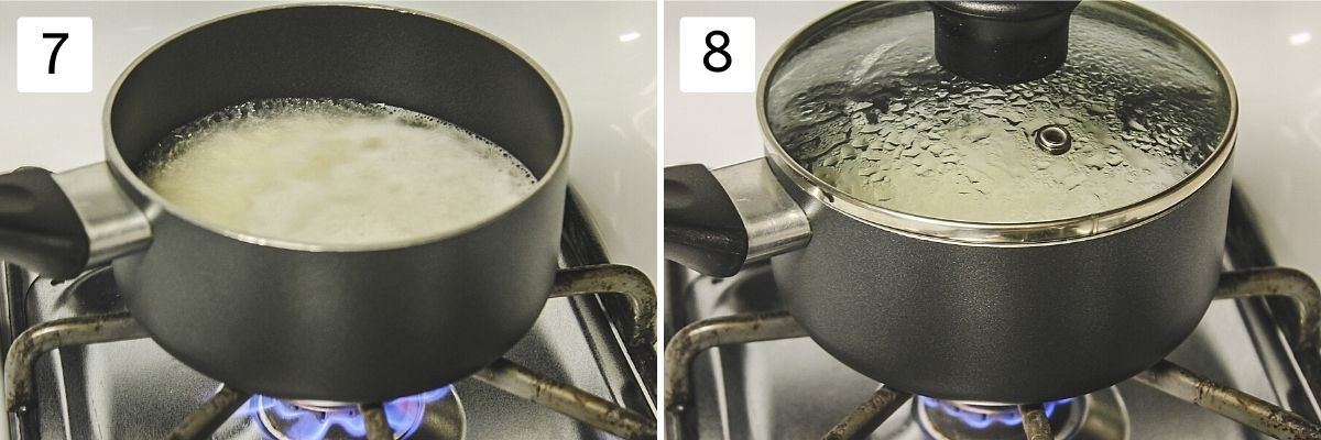Collage of 2 steps showing cooking rice with pan covered with lid.