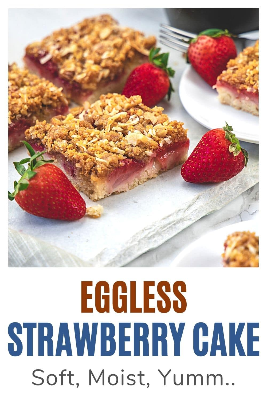 Eggless strawberry cake pin