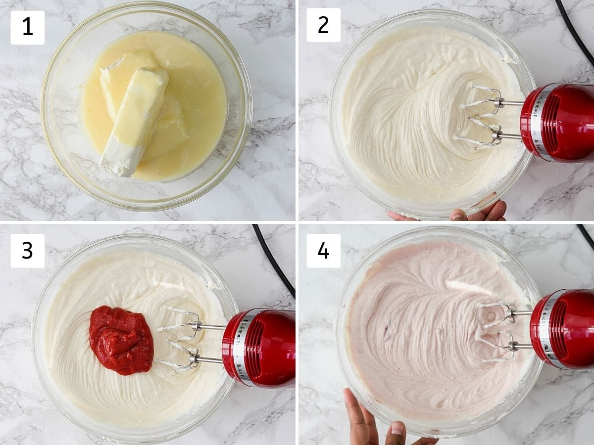Collage of 4 steps making strawberry cheesecake filling using hand mixer.