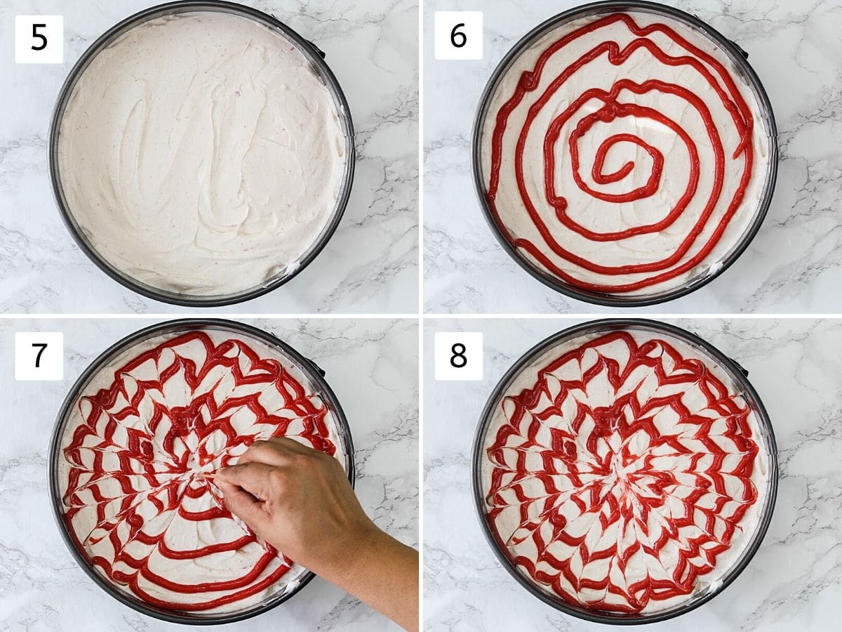 Collage of 4 steps showing cheesecake mixture in a pan and making swirls of strawberry sauce.