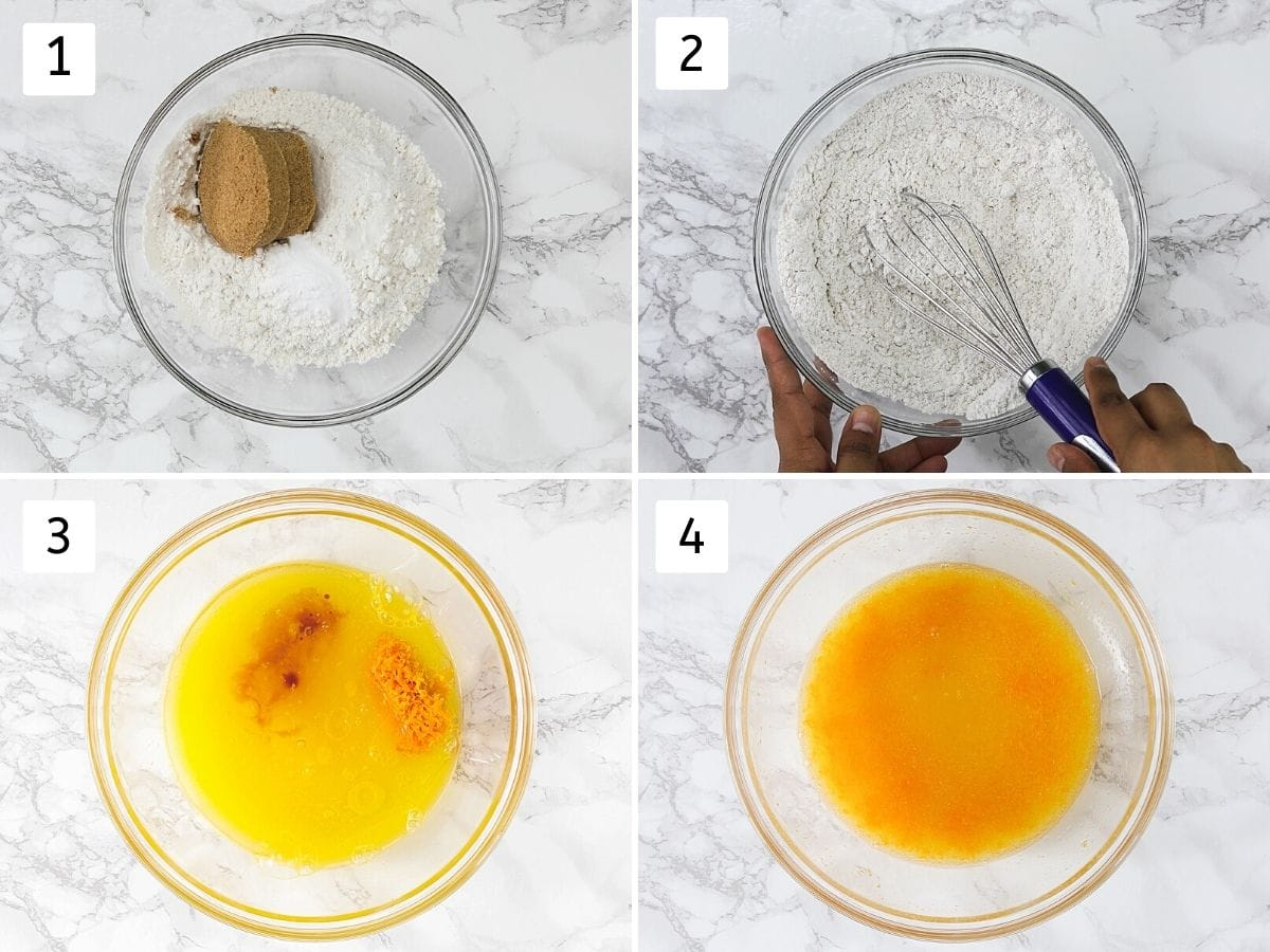 Collage of 4 steps showing mixing dry ingredients and wet ingredients.