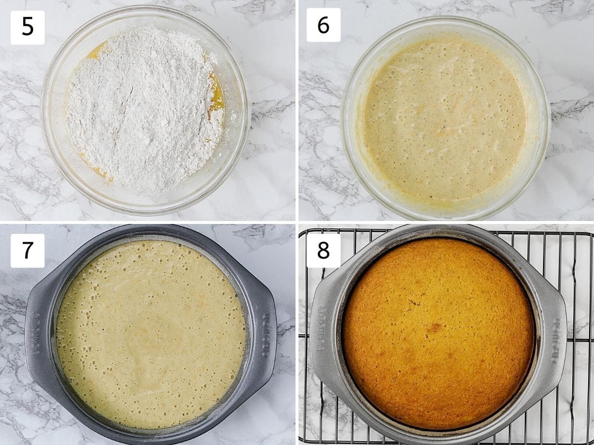 Collage of 4 steps showing making cake batter, pouring in the pan and baked cake.