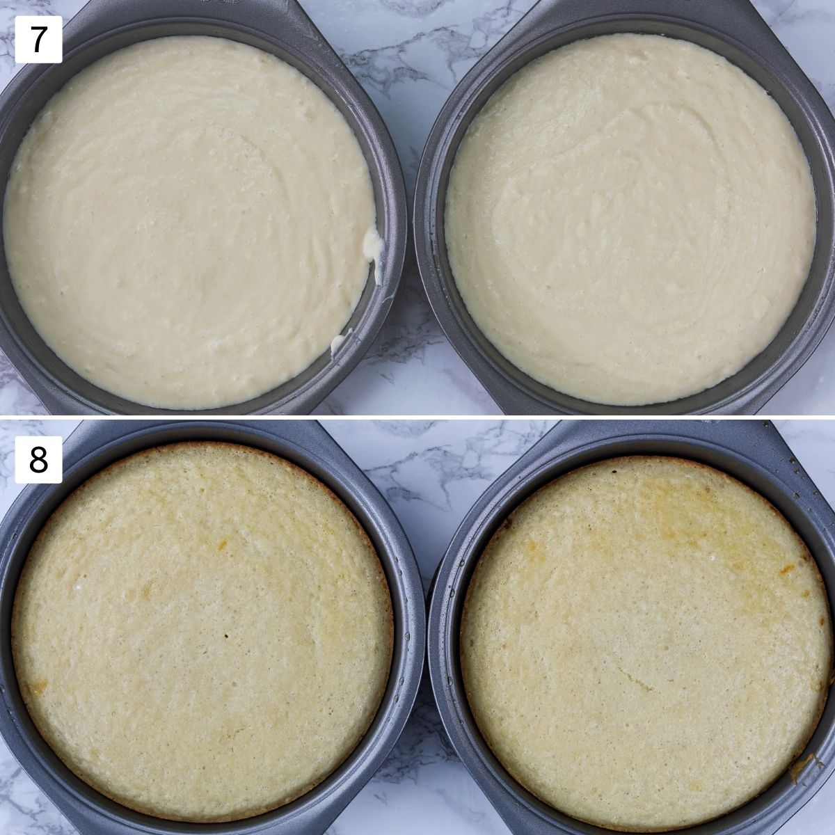Collage of 2 steps showing cake batter in the pan and baked cakes.