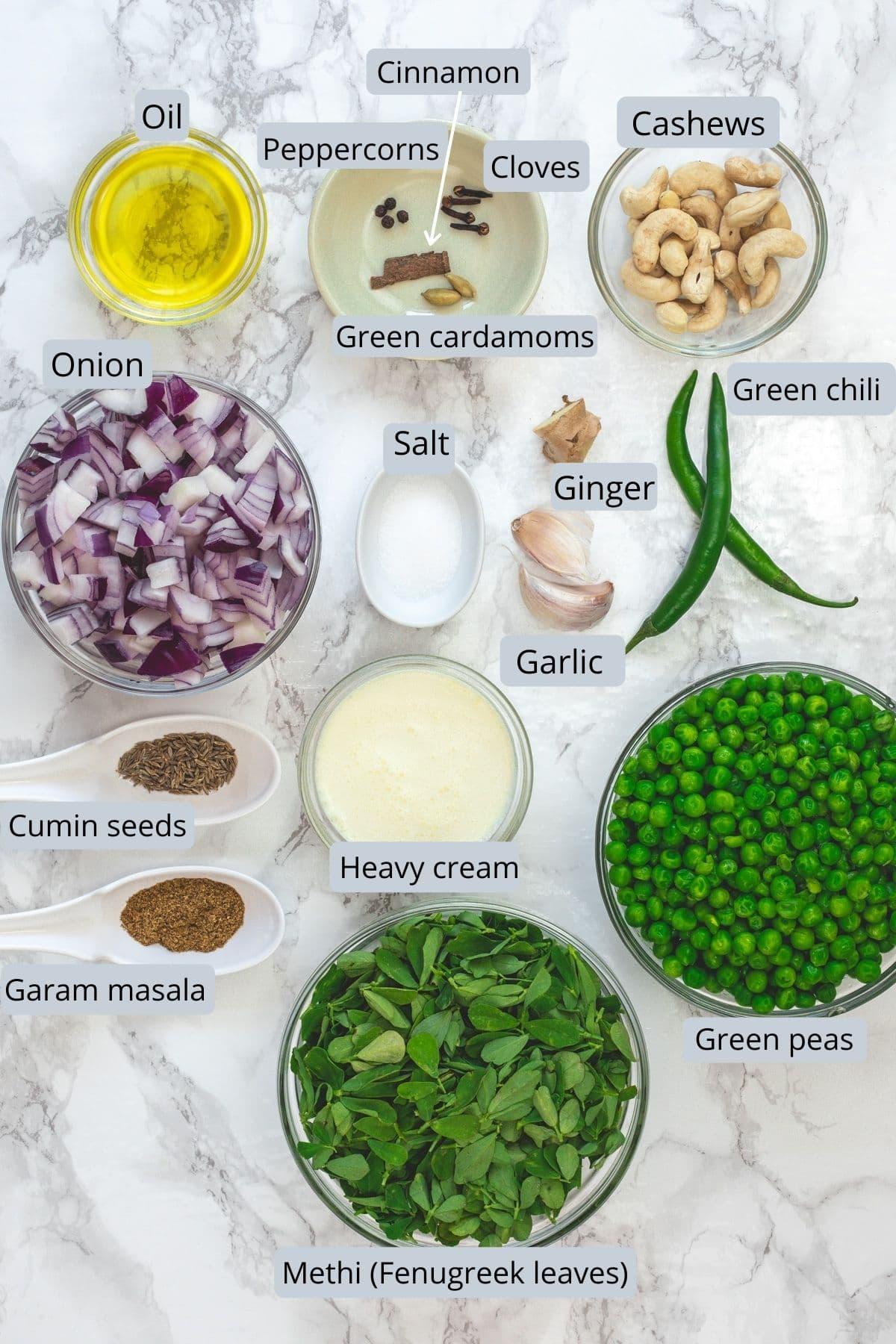 Ingredients used in methi matar malai recipe in separate bowl and spoons.