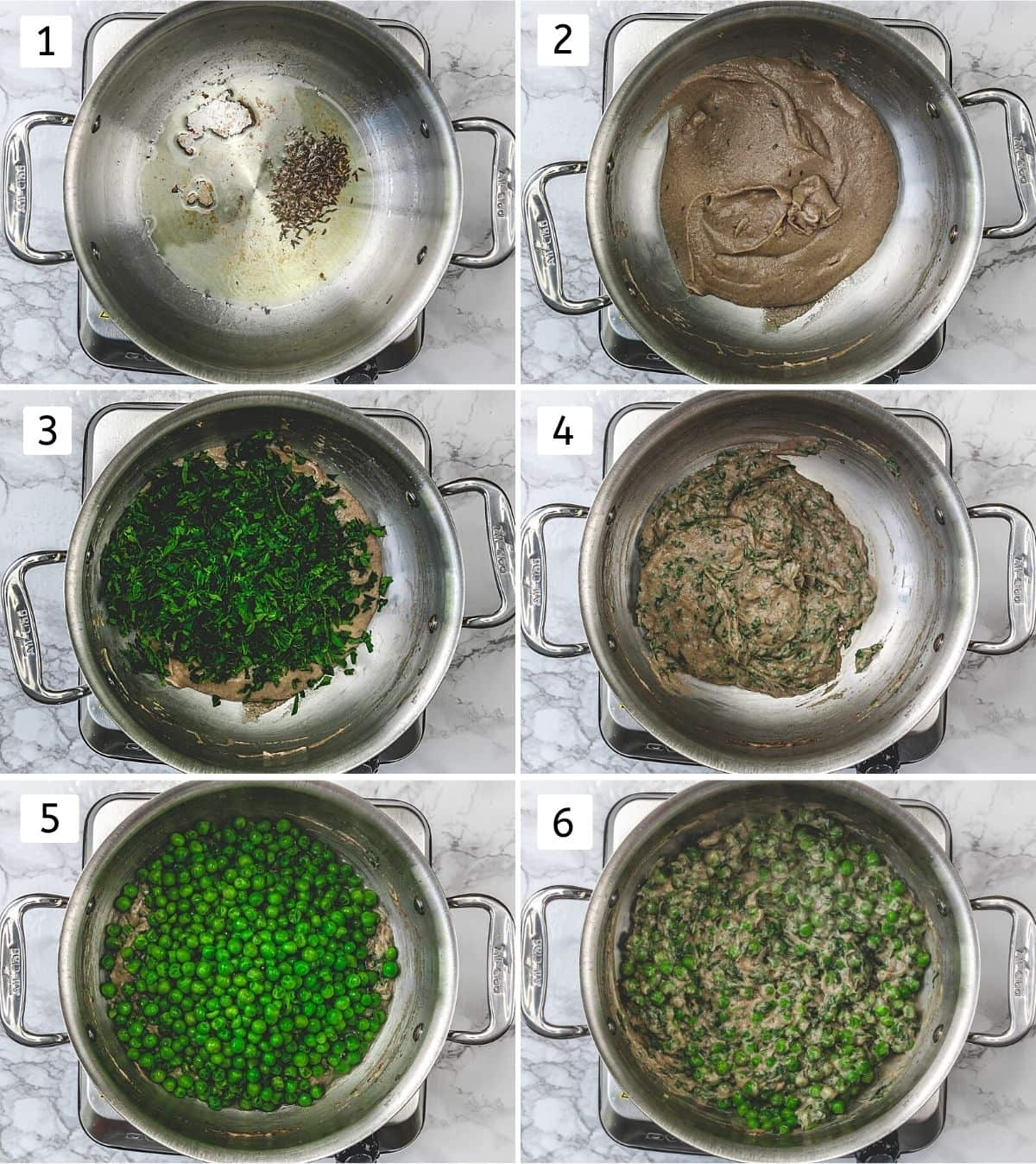 Collage of 6 steps showing cooking onion paste, adding and cooking methi and peas.