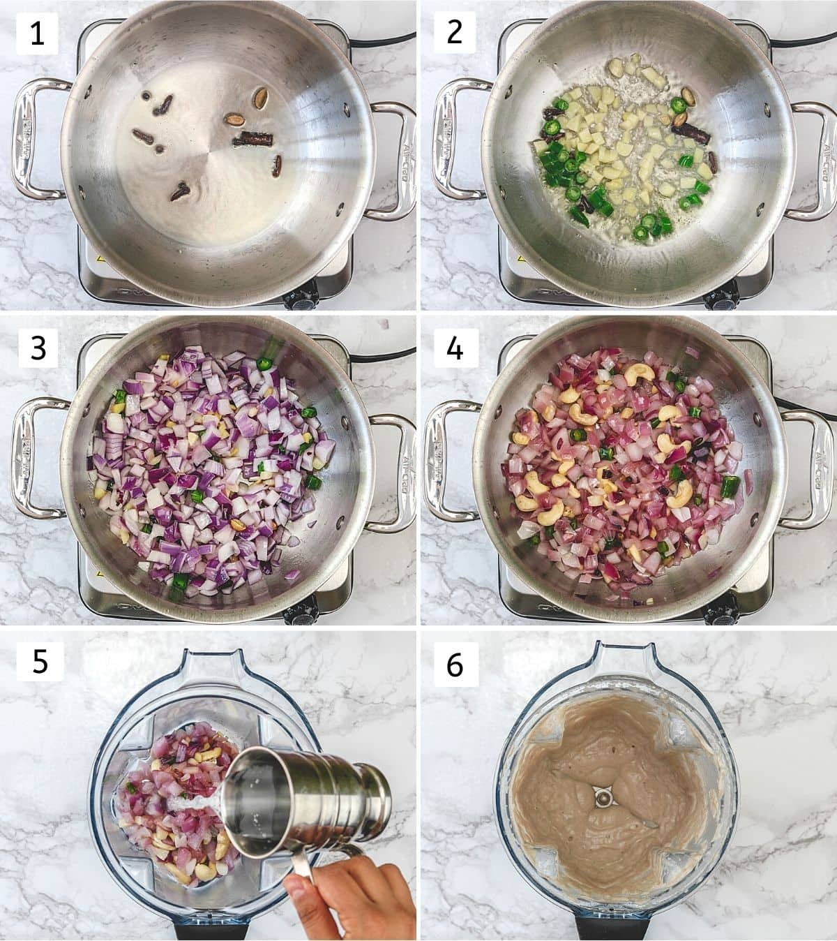 Collage of 6 steps showing cooking spices and onion, making smooth paste.