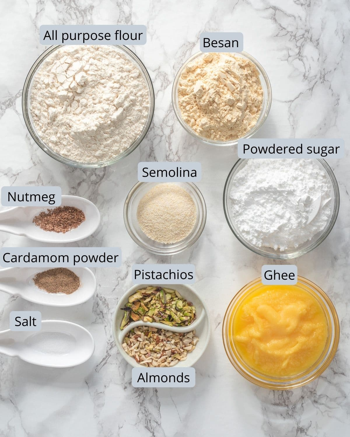 Ingredients used in nankhatai recipe are in individual bowls and spoons.