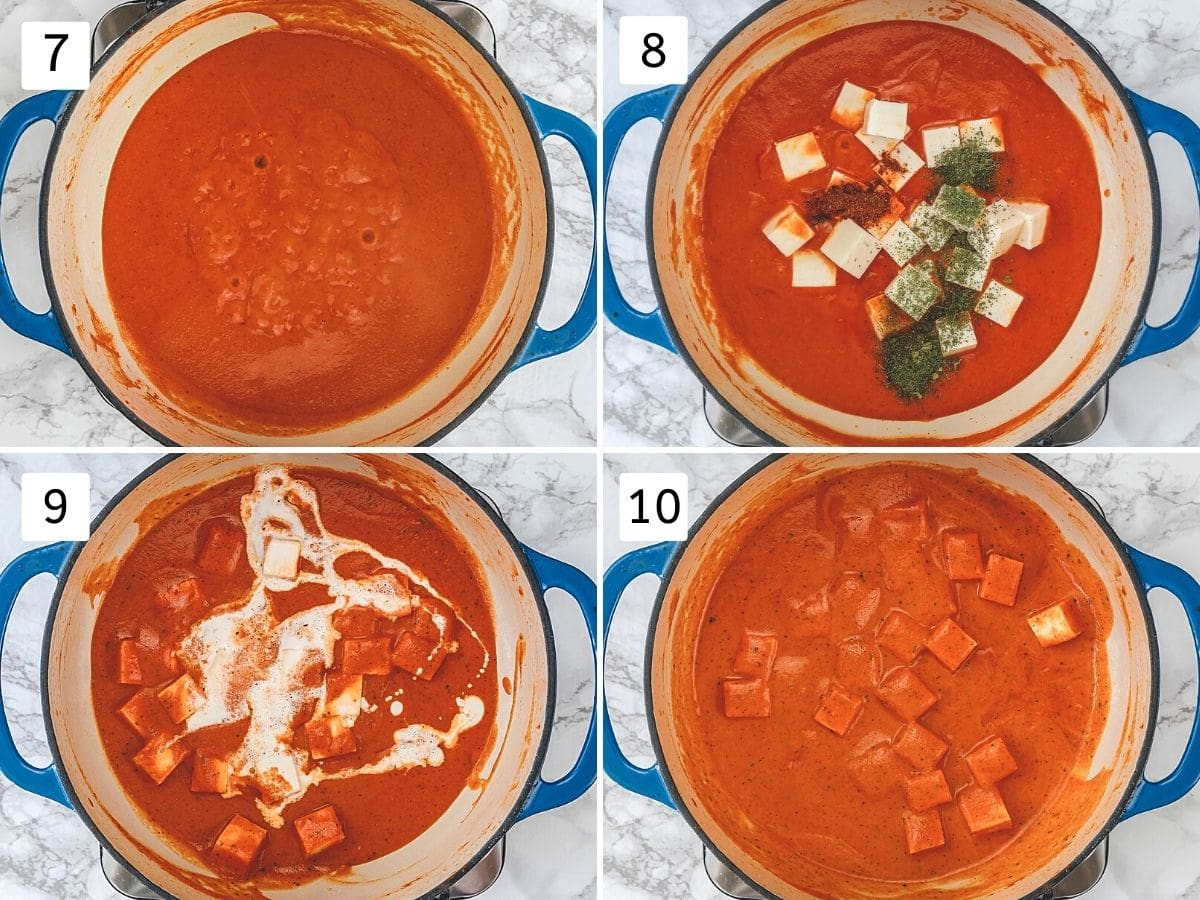 Collage of 4 steps showing simmering gravy, adding paneer, spices, cream and ready curry.