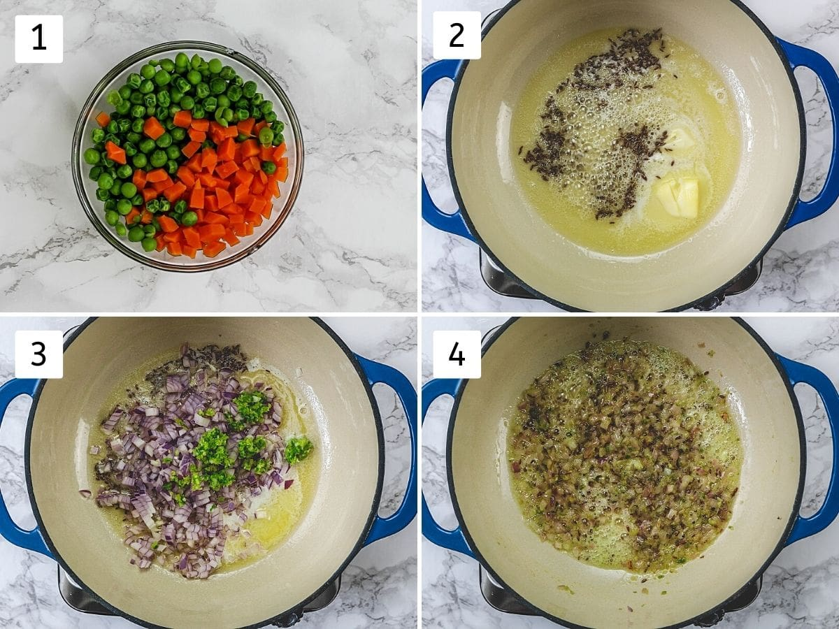 Collage of 4 steps showing cooked peas, carrots and cooking onion.