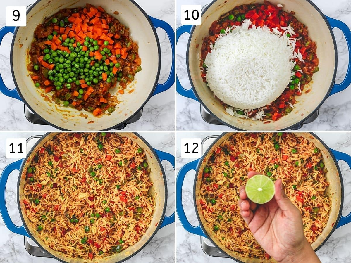 Collage of 4 steps showing adding, mixing veggies, rice and squeezing lime.