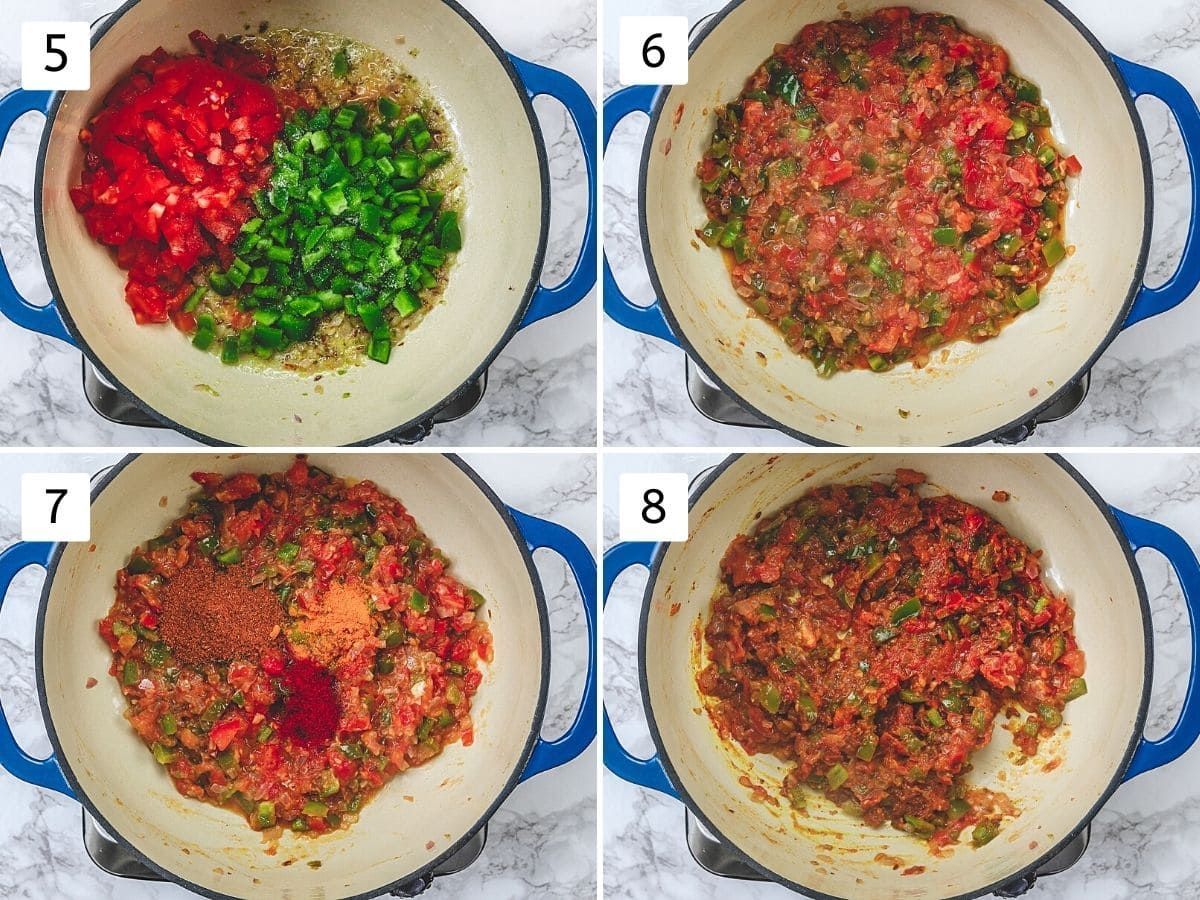 Collage of 4 steps showing adding, cooking tomatoes and bell pepper, adding mixing spices.