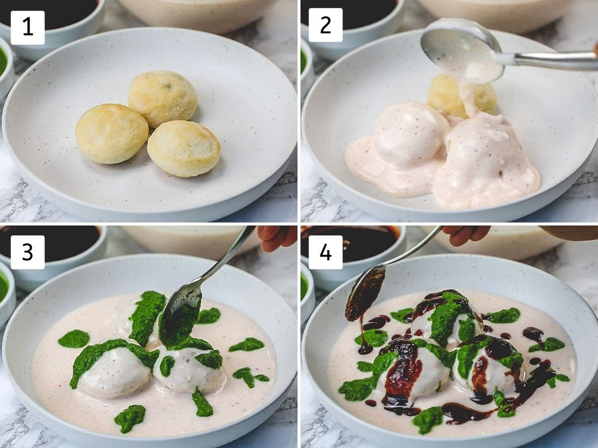 Collage of 4 steps shows placing vada in a plate and drizzling yogurt, green chutney and tamarind date chutney.