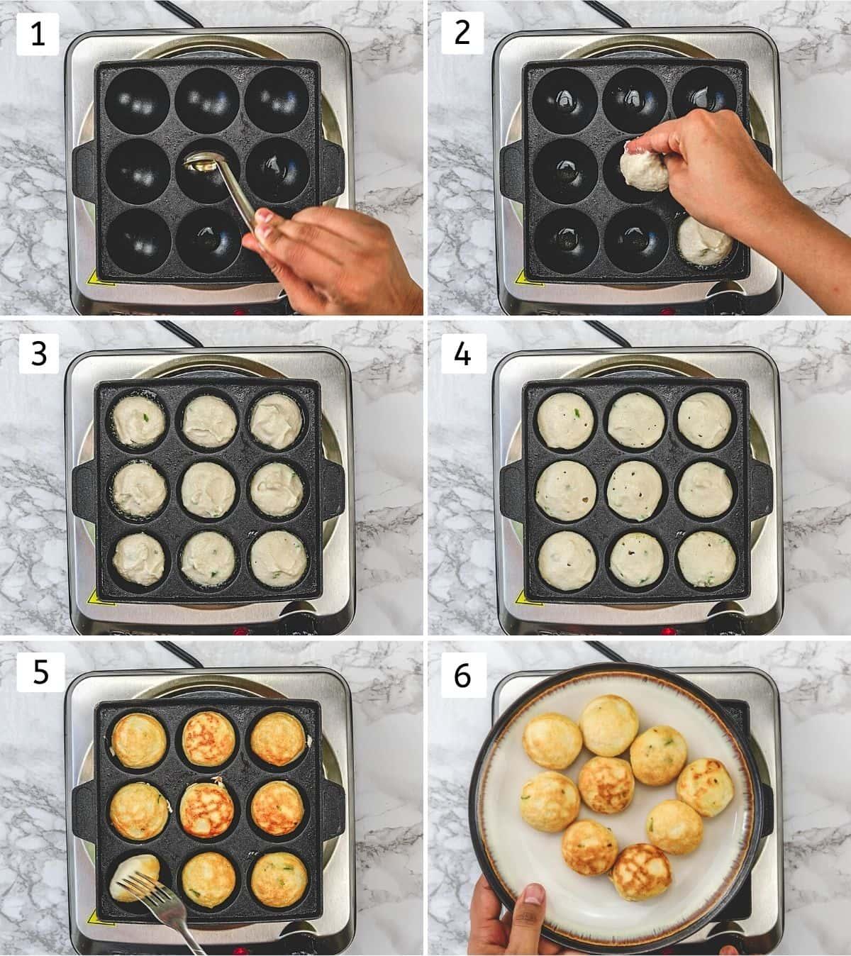 Collage of 6 steps showing pan frying vada in paniyaram pan.