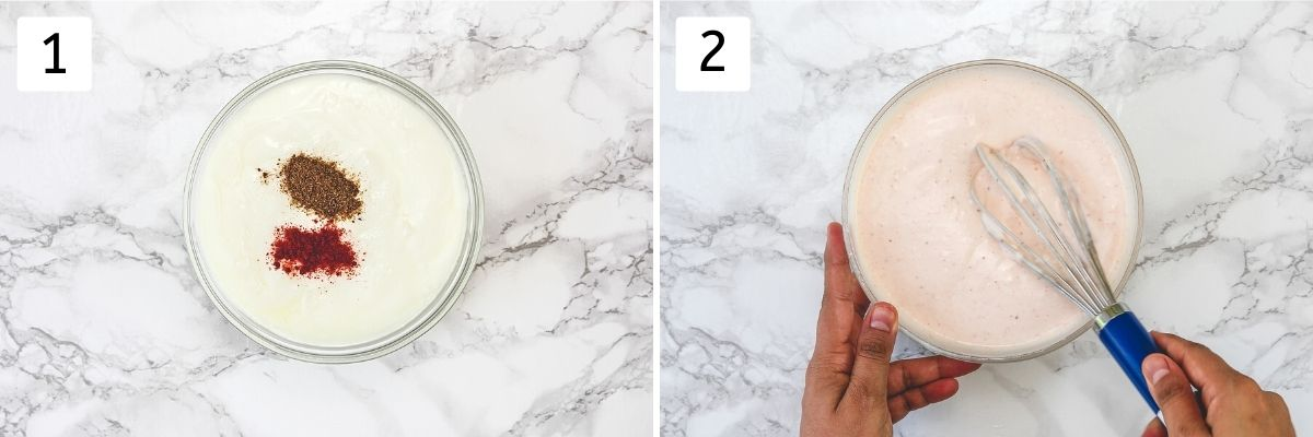 Collage of 2 steps showing yogurt with seasoning in a bowl and whisking it.