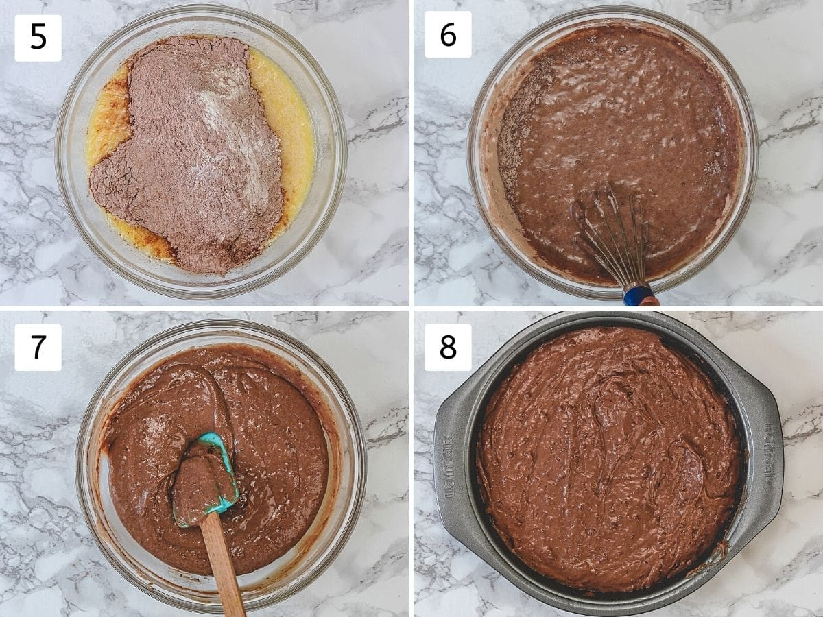 Collage of 4 steps showing adding dry to wet and making batter, adding into cake pan.
