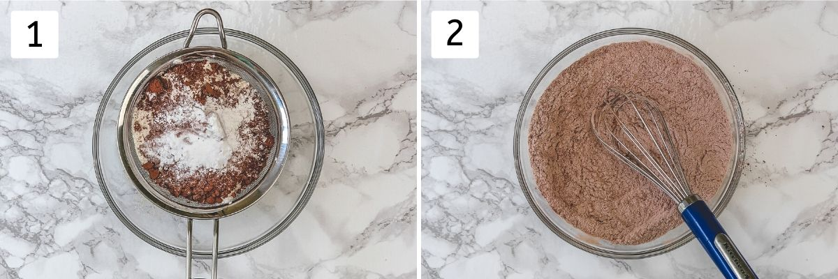 Collage of 2 steps showing mixing dry ingredients.