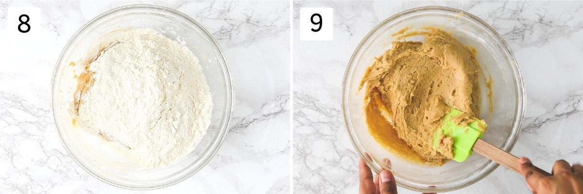 Collage of 2 steps showing adding dry flour mixture and making a cookie dough.