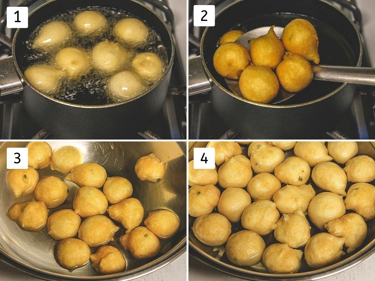 Collage of 4 steps showing deep frying vada and soaking into the water.