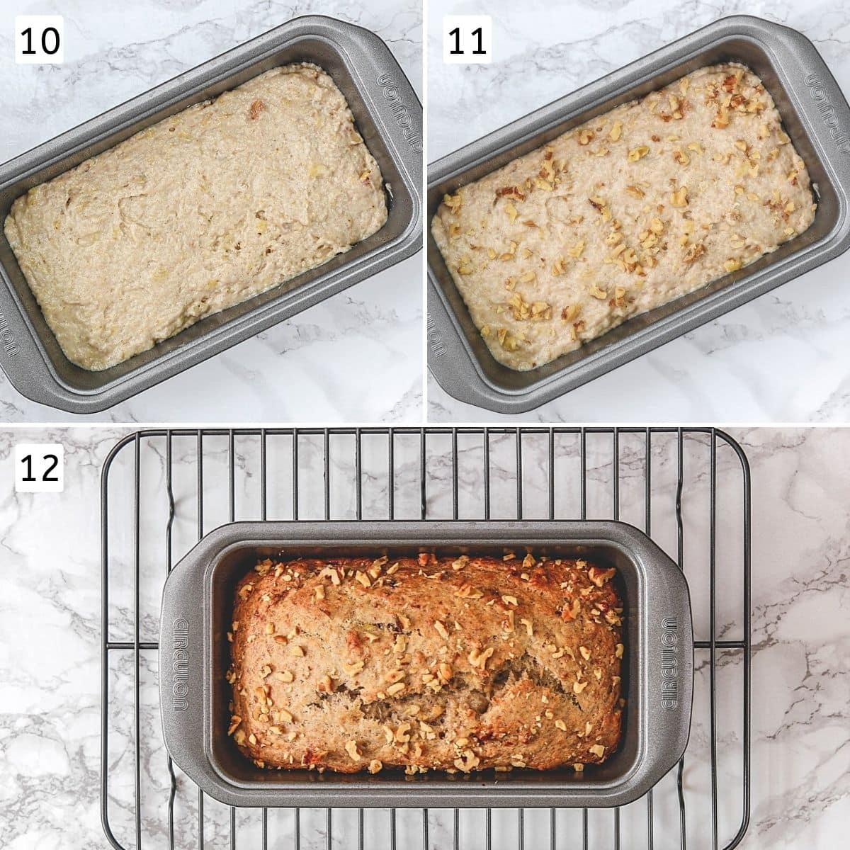 Collage of 3 steps showing batter into the pan, sprinkling walnuts and baked bread.